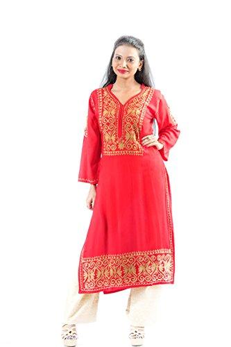 Anjani Ethnic full sleeve Hand Embroidered Lucknow Chikan work Cotton Kurta kurti...