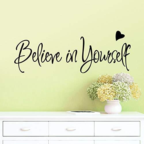 Kuke Wandtattoo Englische Sprache Believe in Yourself Inspirierende Wandaufkleber Abnehmbare DIY Wandsticker für Büro Arbeitszimmer(56 * 20cm)
