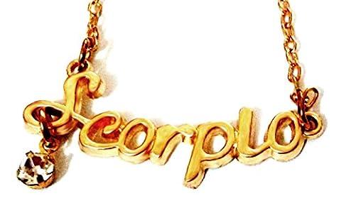 (Skorpion)-Stern-Zeichen-Halskette Eine Auswahl Gold mit Auburn Brillantino Geschenk-Ideen für Frauen, Männer, Unisex