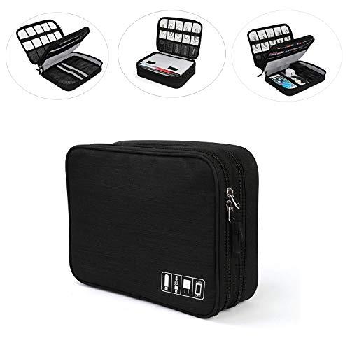 Jelly Comb Elektronische Tasche für Nintendo Switch, Doppelte Schichte Elektronik Organizer Kabeltasche für Tablets, USB Ladekabel, Powerbank, iPad, Spielkarte usw, Schwarz (Elektronische Tasche)