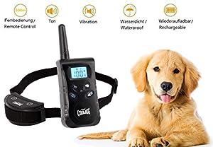 Collier Anti-Aboiement pour chiens COOLIGG Collier de dressage pour chiens avec 3 modes de Vibration + Bip Sonore + Vibration & Bip Sonore, collier de dressage télécommandé pour chiens de 500 mètres, rechargeable et étanche