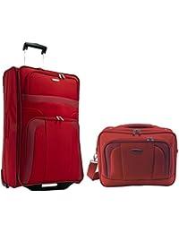 Trolley-Koffer 63 cm + Flugumhänger/Begleiter Rot Serie Orlando von Travelite