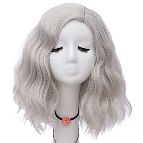 NiceLisa Frauen Mädchen 16 Zoll Mittellanges Seitenteil Haaransatz Natürliche Welle Silber Tägliche Cosplay Perücke