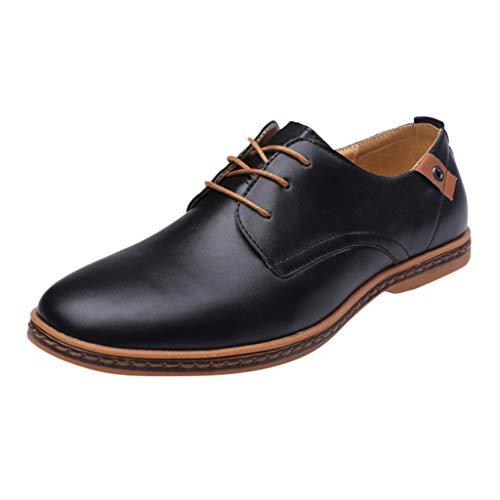 Clarks Leder Mary Janes (FNKDOR Schuhe Herren Runder Kopf Geschäft Freizeit Lederschuhe Berufsschuhe Weiches Leder Einfarbig Nähgarn Schnürsenkel Low-Top Business-Schuhe Schwarz 42 EU)
