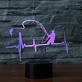 3D Illusion Light Lámpara De Mesa De Luz Nocturna Con Forma De Electrocardiograma Led Luminaria Pescadores Pescadores Regalo Para Niños Lámparas