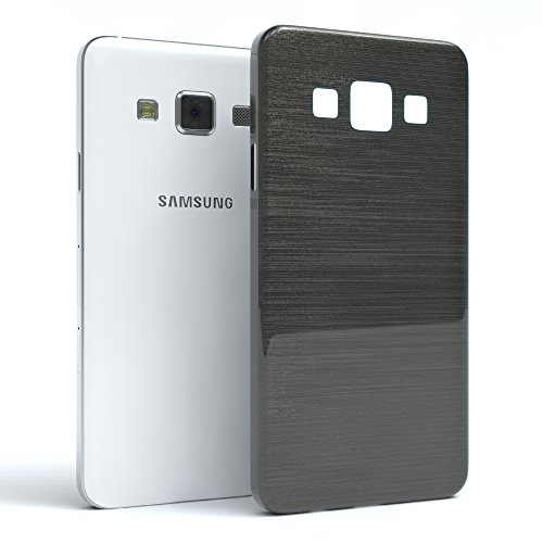 Samsung Galaxy A3 (altes Modell) Hülle - EAZY CASE Ultra Slim Cover TPU Handyhülle Matt - dünne Schutzhülle aus Silikon in Transparent / Weiß Brushed Anthrazit
