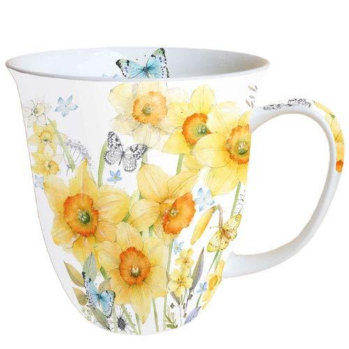 Ambiente Porzellan Becher Bone China, Mug, Tasse, Fuer Tee Oder Kaffee ca. 0,4L Classic Daffodils Narzisse Daffodil Bone China