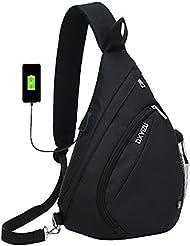 Sac Poitrine SINOKAL Sac Bandouliere Poitrine Casual bandoulière épaule triangle packs sacs pour les hommes femmes Canvas sacs photo numérique avec port de charge pour le sport en plein air gym voyage randonnée