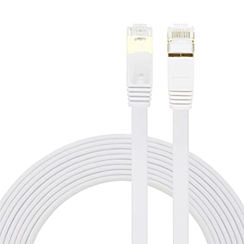 Cat7 Ethernet Cable ,Youii Ethernet Cable Cat7 RJ45 Network Patch Cable Flat 10 Gigabit 600Mhz Lan Wire Cable Cord Shielded for Modem, Router, PC, Mac, Laptop, PS2, PS3, PS4, XBox, and XBox 360 White