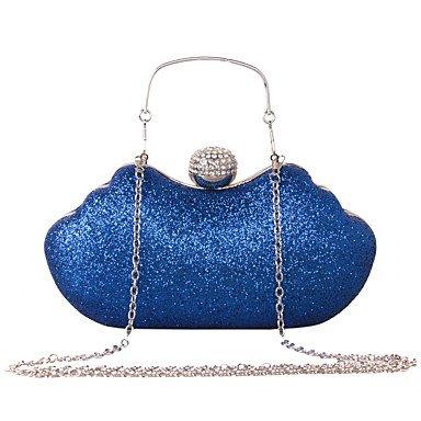 WZW Donna Sacchetti Per tutte le stagioni Similpelle Conchiglia Borsa da sera con Con diamantini Catene in metallo Paillettes per Matrimonio . silver blue