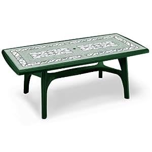 Präsident, Gartentisch, rechteckig, Fliesen Deko Top, Kunstharz, Grün
