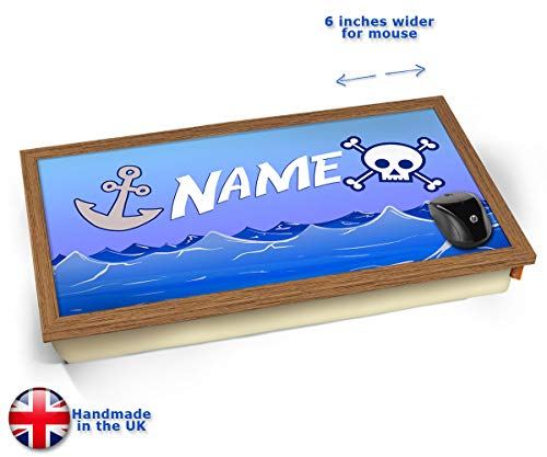 Pirate Personalised Childrens Name Cushioned Bean Bag Laptop Lap Tray Desk - Built-in EMF Shield...