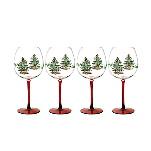 Spode Christmas Tree Glass Wine Goblet with Red Stem, Set of 4 by Spode Spode Christmas Tree Glass