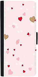 Snoogg Heart Pattern Pink Designer Protective Phone Flip Case Cover For Panasonic P55 Novo