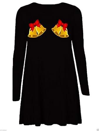 Womens Ladies Long Sleeves Santa Gifts Bells Snowman Christmas Xmas Printed Flared Swing Dress Top