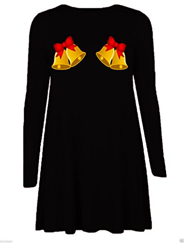Mode 4 Moins Neuf Femme Grande Taille Manche Longue Noël Swing Robe. ROYAUME-UNI 8-26 Bells Black