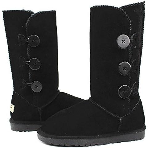 Europeos y americanos otoño e invierno la nieve mujer botas Gaotong genuino cuero del tendón en el extremo plana con Gaotong botas para la nieve botas calientes del ms , black , 38