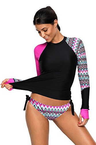 Damen Langarm Rashguard UPF 50+ Athletic Swim Shirt Farbblock Druck Tankini Sets Badeanzug S-XXXL (Rosig, (EU 54-56) XXXL)