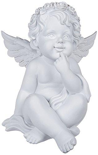 (Sitzender Polyresin-Engel mit weißem Rosenblütenkranz-Dekor, H: ca. 27 cm)