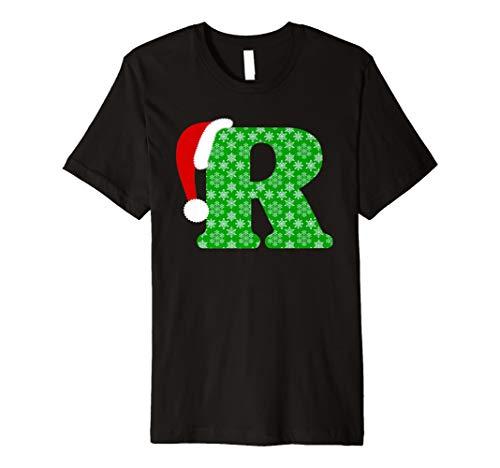 Weihnachten Santa Monogramm Buchstabe R Urlaub Geschenk T-Shirt