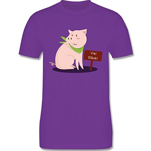 Sonstige Tiere - Glücksschweinchen - Herren Premium T-Shirt Lila
