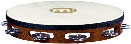 Meinl Percussion TAH1AB Headed Wood Tambourine mit Stahlschellen (1-reihig), 25,40 cm (10 Zoll) Durchmesser, african brown