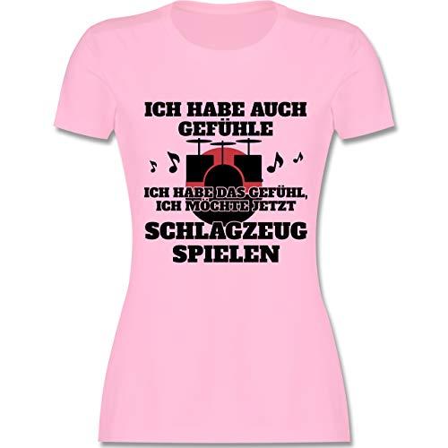 Instrumente - Ich Habe auch Gefühle Schlagzeug - S - Rosa - L191 - Damen Tshirt und Frauen T-Shirt