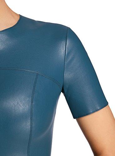 oodji Ultra Damen Kleid aus Lederimitat mit Ausgestelltem Rock Blau (7400N)
