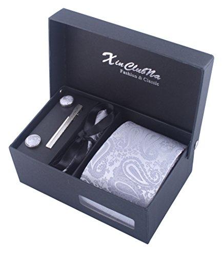 Herren Paisley Krawatten set mit ManschettenKnöpfe, Einstecktuch und Krawatte Bar Geschenk Set (Silber)