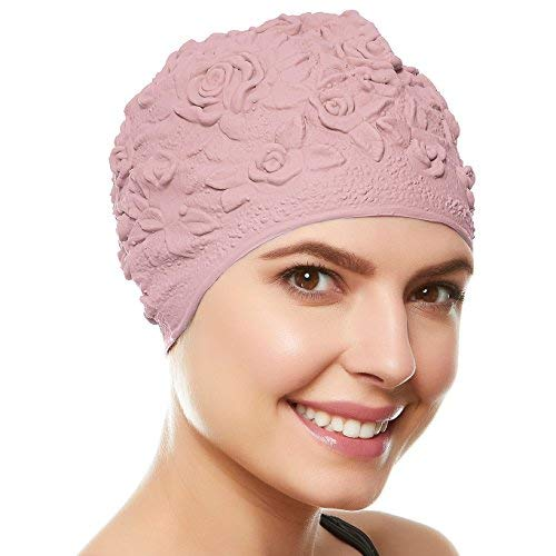 Latex With Embossed Flower Pattern Ornament Swim Bathing Cap - Pastel Pink -