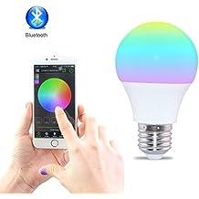 sendida Bluetooth RGB LED Lampadina Lampada, cambiamento di colore e dimmerabile umore luci con App telecomando, iPhone, e Android illuminazione, E27, 4.5W