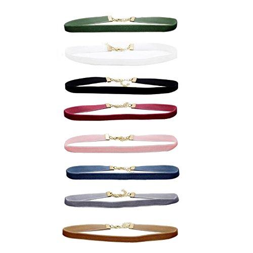 Skitic 8 Pezzi Multicolore Gothic Girocollo Collana di Velluto in Pelle Choker Collari Necklace Gioielli Set per Ragazze Donne