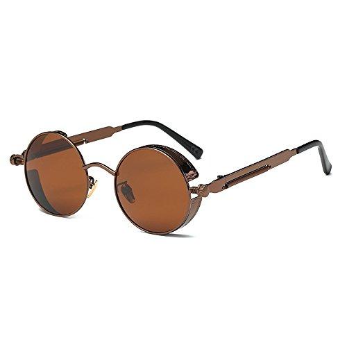 AMZTM Kleine Rund Verspiegelt Linsen Polarisiert Punk Sonnenbrille für Damen und Herren, Dunkelbraun,