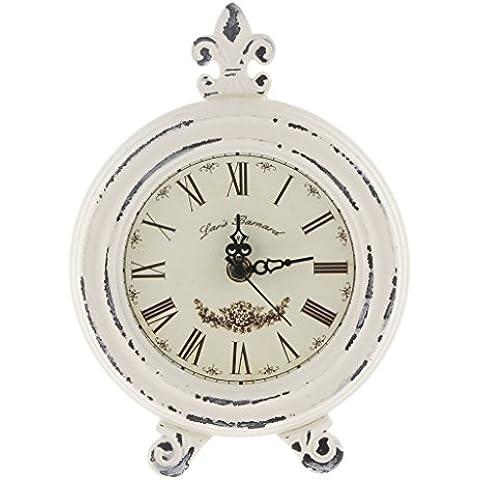Adornos Hogar Colección Vida Simple Reloj de Cosecha Madera Estilo Europeo Mesa - Blanco