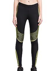 Cody Lundin mujeres Pantalones de baile de elasticidad de dos colores de ejercicio deporte Yoga Slim largo (black-b, S)