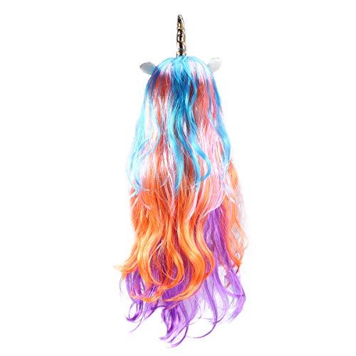 Peluca larga de unicornio rizado Frcolor para disfraz de peluca de cosplay para niños, niñas, adolescentes y adultos (solo peluca de cuerno dorada)