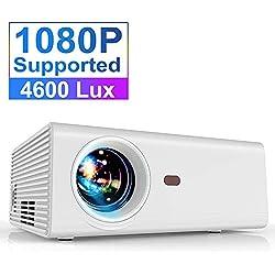 Vidéoprojecteur, YABER 4600 Lumens Mini Projecteur Soutien 1080P Full HD Rétroprojecteur Portable Vidéo Native 1280*720P Multimédia Home Cinéma Compatible Chromecast /USB /VGA /HDMI /AV