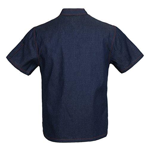 Homyl Männer Frauen Denim Kochjacke Knöpfe Bäckerjacke Gastronomiebekleidung Kochhemd Arbeitskleidung für Koch Köche - Blau, XL - 5