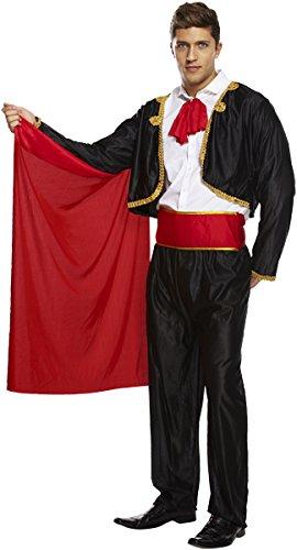 Emmas Kleiderschrank Spanisch Matador Kostüm - Mit schwarzem Outfit mit roten Cape - Stier-Kämpfer Kostüme für Halloween - UK Größen M-XL (Men: Medium, Black)