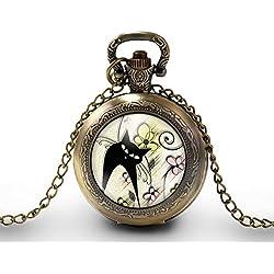 """Montre à gousset, sautoir illustré""""le chat printanier"""", parure, cadeau noel, cadeau femme, cadeau saint valentin, idée cadeau, cadeau anniversaire, bronze (ref.71-2)"""