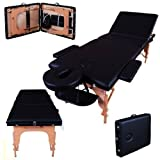 Massage Imperial® Lightweight Professional Black 3-Section Portable Massage Table Couch Bed Spa
