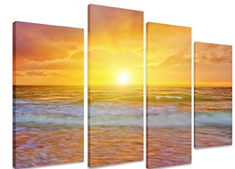 PICTURE - Multi Split Panel Canvas Artwork Art - Summer Landscape Sea Sunset Ocean Sea Wave Orange/ Yellow Sky -ART Depot OUTLET - 4 Panel - 101cm x 71cm