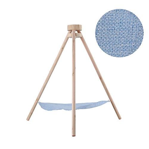 NSHK Katze Hängematte Kätzchen Sling Cozy Bett Spielen Museum Holz Haustier Stativ Breathable Leinen Swing Stand-Typ,Blue (Kiefer Leinen)