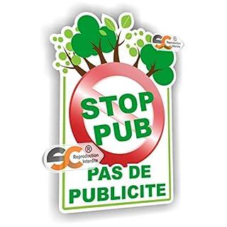"""Selbstklebender Sticker gegen Werbung (auf Französisch): """"Pas de Publicité - Stop Pub"""""""