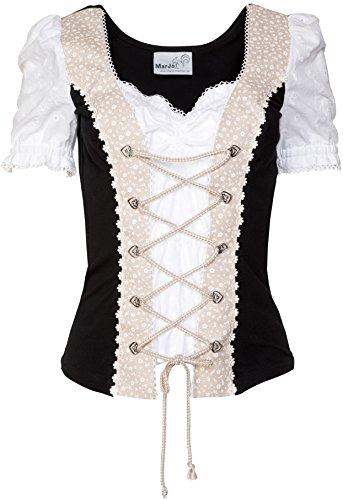 MarJo Trachten Blusen Shirt Ella-Lynn beige/schwarz Gr.44