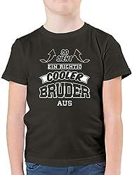 Geschwister Bruder - So Sieht EIN richtig Cooler Bruder aus - 164 (14/15 Jahre) - Anthrazit - F130K - Kinder Tshirts und T-Shirt für Jungen