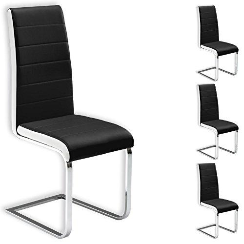 IDIMEX Freischwinger Esszimmerstuhl Küchenstuhl Stuhlgruppe EVELYN, 4er Pack, Lederimitat schwarz