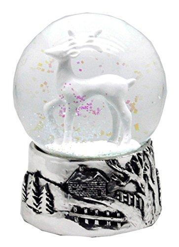 20054 Schneekugel REH weiß mit Silber-Sockel Landschaft mit Spieluhr