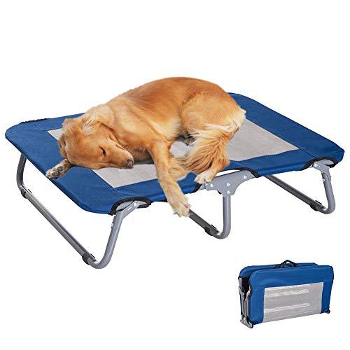 Alaof Hund ErhöHtes Haustierbett Katze HüNdchen ErhöHt Angehoben Kinderbett Bett Tragbar Camping Korb,Blue,L