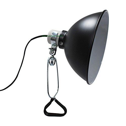 Schwarze Keramik Lampe (Terrarium Klemmlampe mit E27 Sockel, bis 150 W, Ø 210 mm, schwarz-matt)